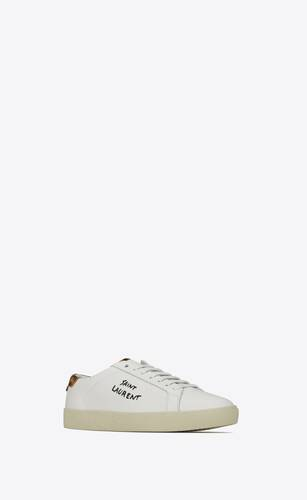 court classic sl/06 embroidered sneakers in smooth leather and leopard-print suede