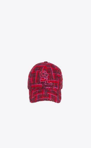 sl baseball cap in checked tweed wool