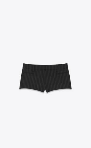 tailored mini shorts in rive gauche striped wool flannel