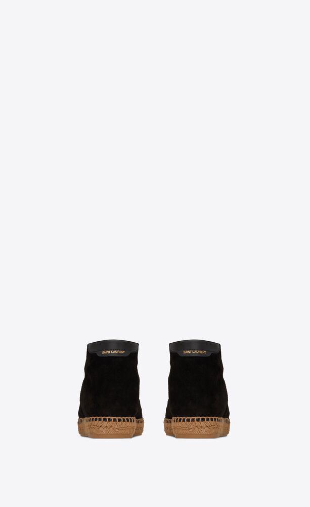 schnür-espadrilles aus veloursleder
