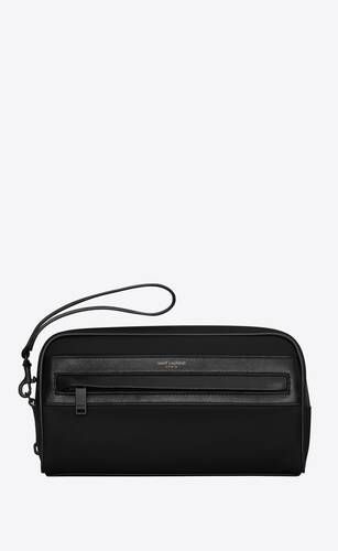 camp camera pouch in nylon and lambskin