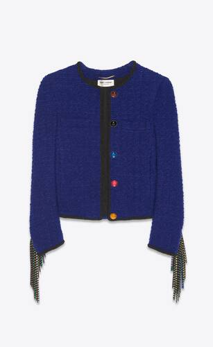short fringed jacket in tweed