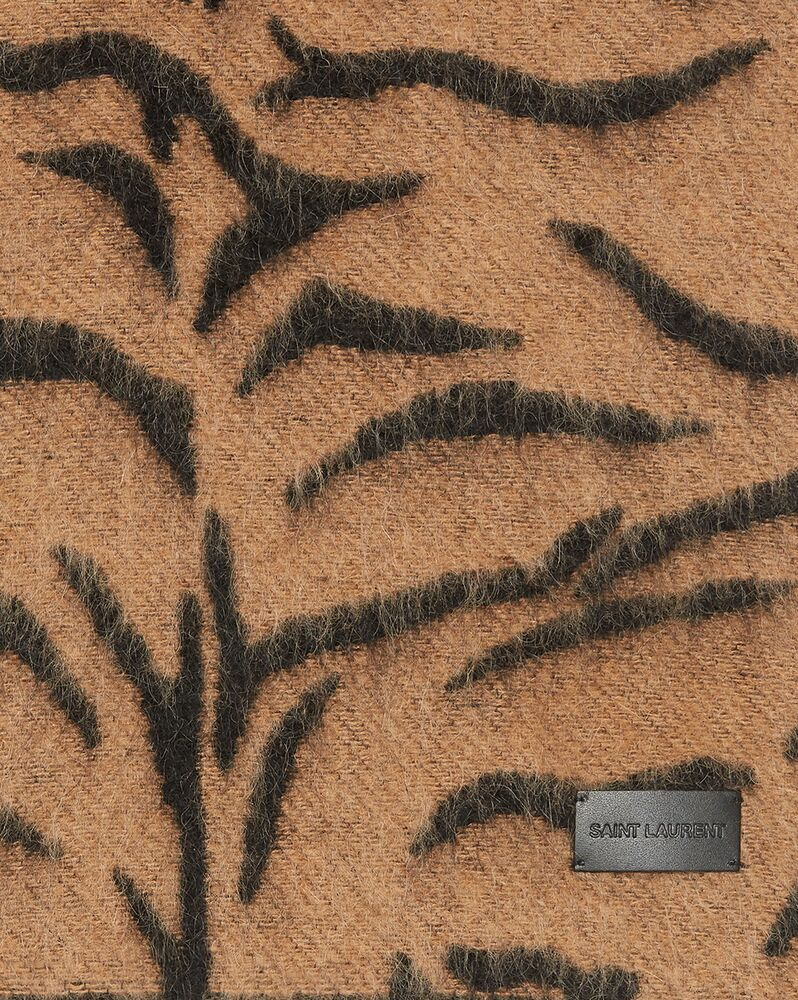 tiger-print scarf in wool and mohair jacquard