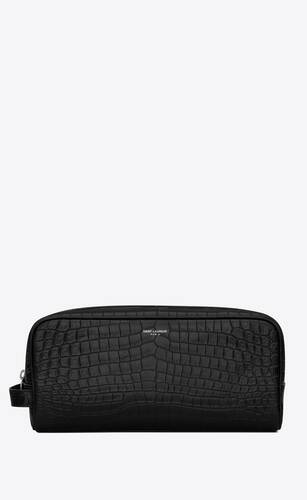 grooming case in crocodile-embossed matte leather