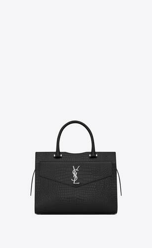 uptown medium tote in shiny crocodile-embossed leather
