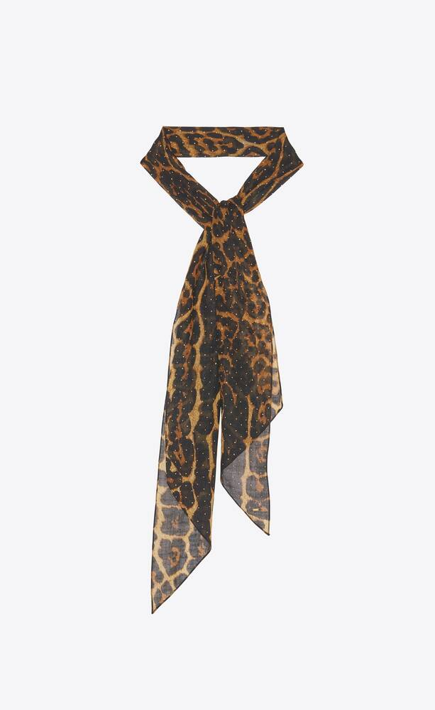 lavallière-schal mit leoparden-print aus woll-etamin mit nieten