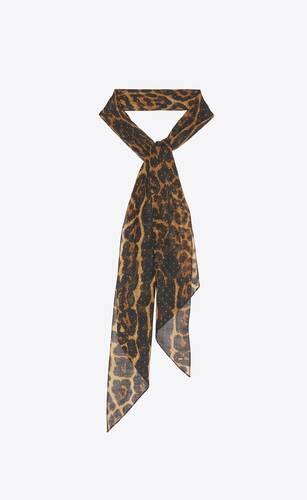 leopard-print lavallière scarf in wool etamine with studs
