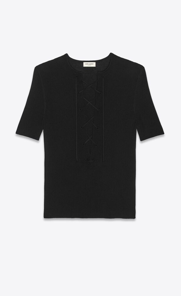 lace-up t-shirt in ribbed wool, cashmere and silk