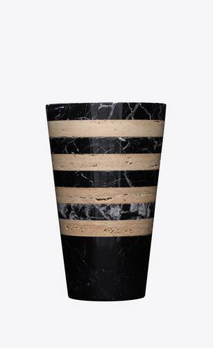striped vase in travertine and marble