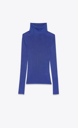 turtleneck sweater in ribbed lurex