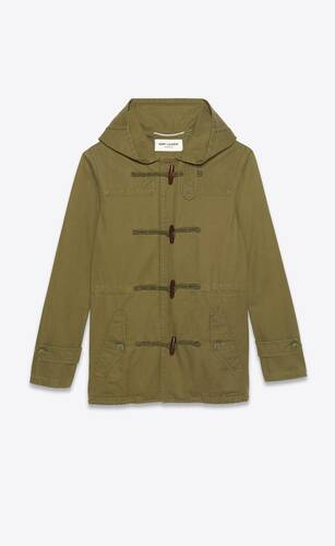 duffle parka in cotton linen gabardine