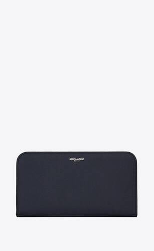 grand portefeuille zippé saint laurent paris en cuir texturé bleu marine