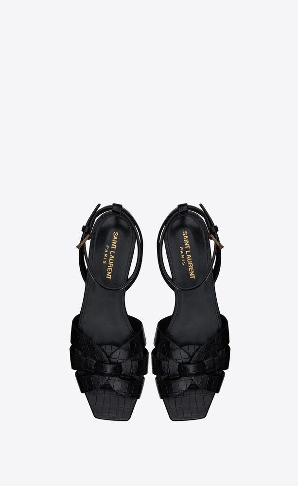 tribute nu-pieds en cuir brillant embossé crocodile