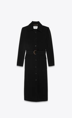 long belted coat in wool jersey