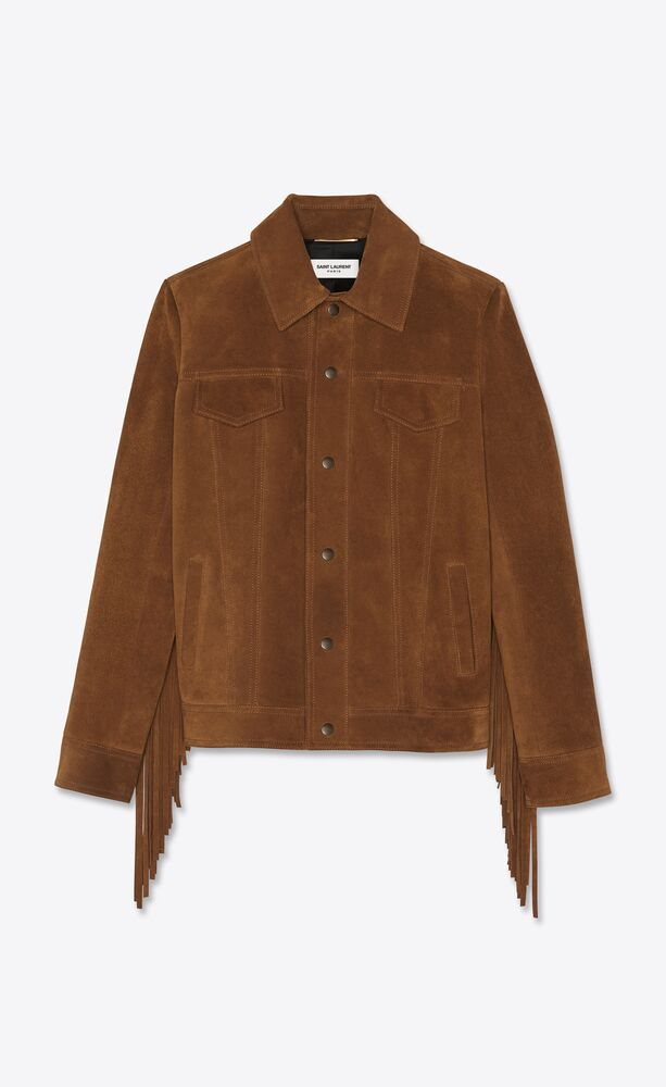 short jacket in vintage suede with fringe
