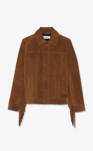 short jacket in vintage suede with fringe