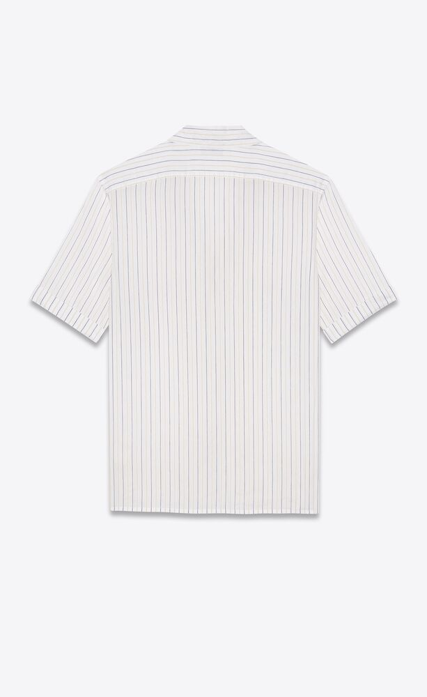 shawl-collar shirt in striped chenille voile