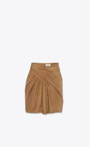 wrapped mini skirt in suede