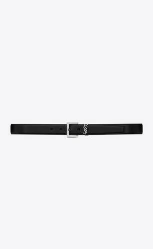 monogram belt in black leather