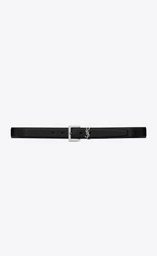 cinturón monograma de piel negra