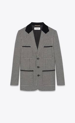 single-breasted jacket in houndstooth with velvet collar