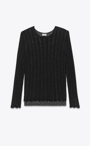 layered knit sweater in viscose with sequins
