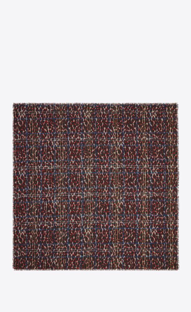 grand carré léopard lamé en jacquard de laine et soie