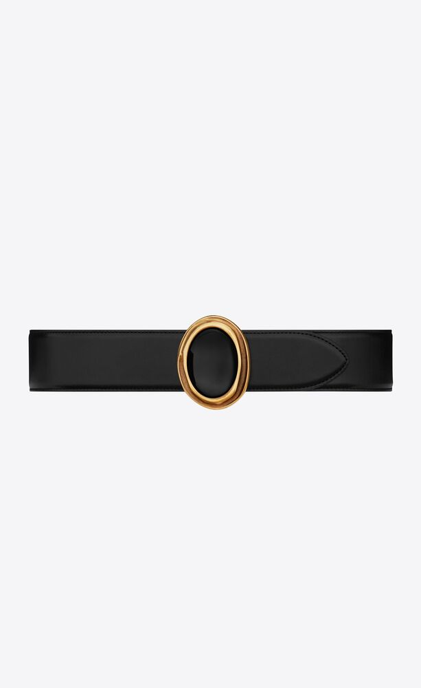 cabochon-buckle belt in smooth leather