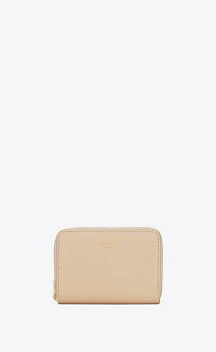 compact zip wallet in matte leather