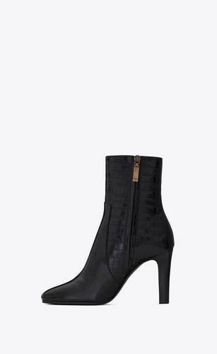 jane booties in crocodile-embossed shiny leather
