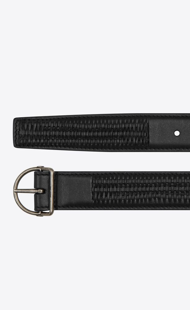 d-ring pin-buckle belt in smooth leather