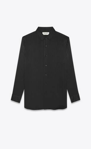 long overshirt in matte and shiny patchwork striped silk