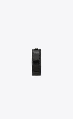 narrow saint laurent id bracelet in black moroder leather and oxidized nickel