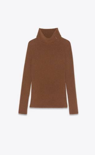 suéter de cuello vuelto acanalado de lana y cachemira