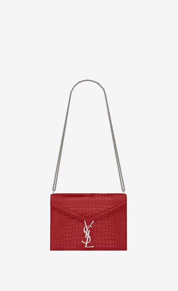 cassandra monogram clasp bag in crocodile embossed shiny leather