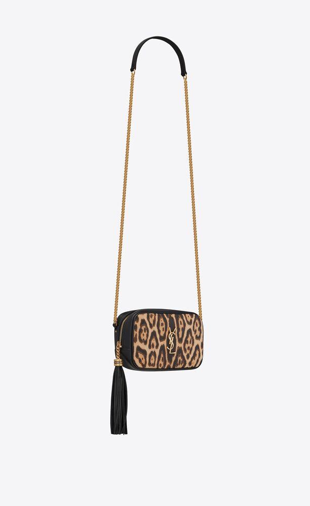 mini lou en cuir lisse et toile à imprimé léopard