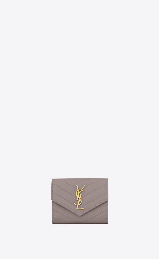 monogram compact tri-fold wallet in grain de poudre embossed leather