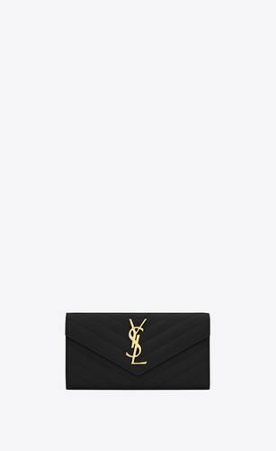 monogramme grand portefeuille en cuir embossé grain de poudre
