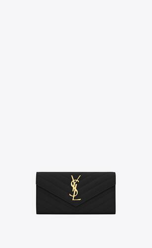 monogram large flap wallet in grain de poudre embossed leather