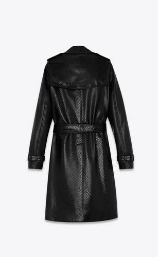 classic trench coat in snake-embossed vinyl