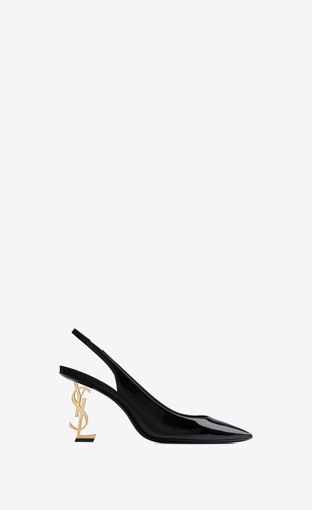 zapatos de salón slingback opyum de charol con tacón dorado