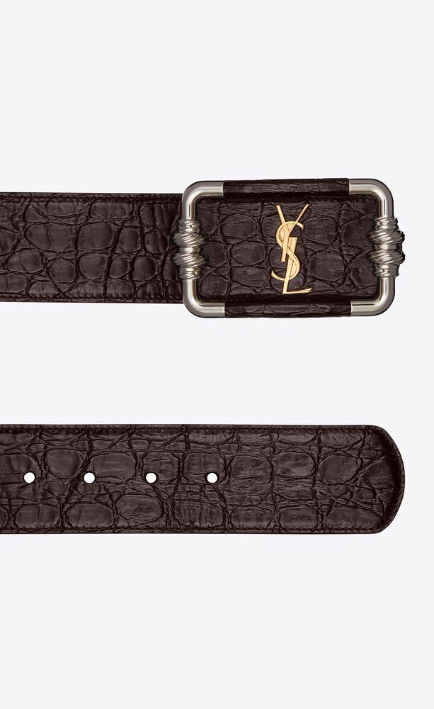 cinturón vintage monograma de piel repujada de cocodrilo