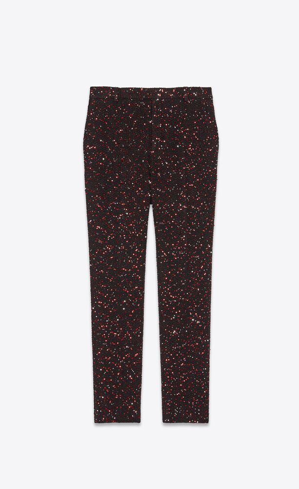 sequin-embroidered tailored pants in twill bouclé