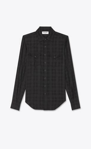 샤이니 및 매트 울 체크 소재의 슬림 핏 웨스턴 셔츠