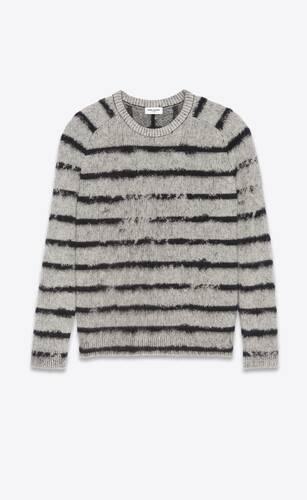 sweater in brushed interrupted stripe