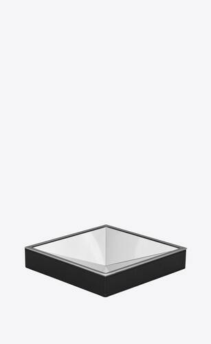 pyramid pin tray in metal and smooth leather