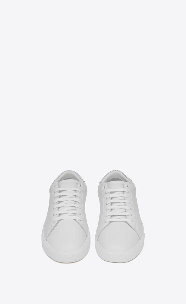 court classic sl/06 embroidered sneakers in smooth leather and python-embossed nubuck