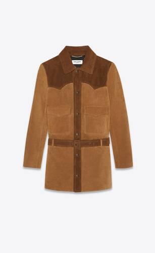 western-style coat in vintage suede