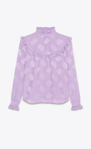 blouse in matte and shiny floral prairie silk