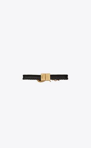 braided leather and passementerie seashell monogram bracelet